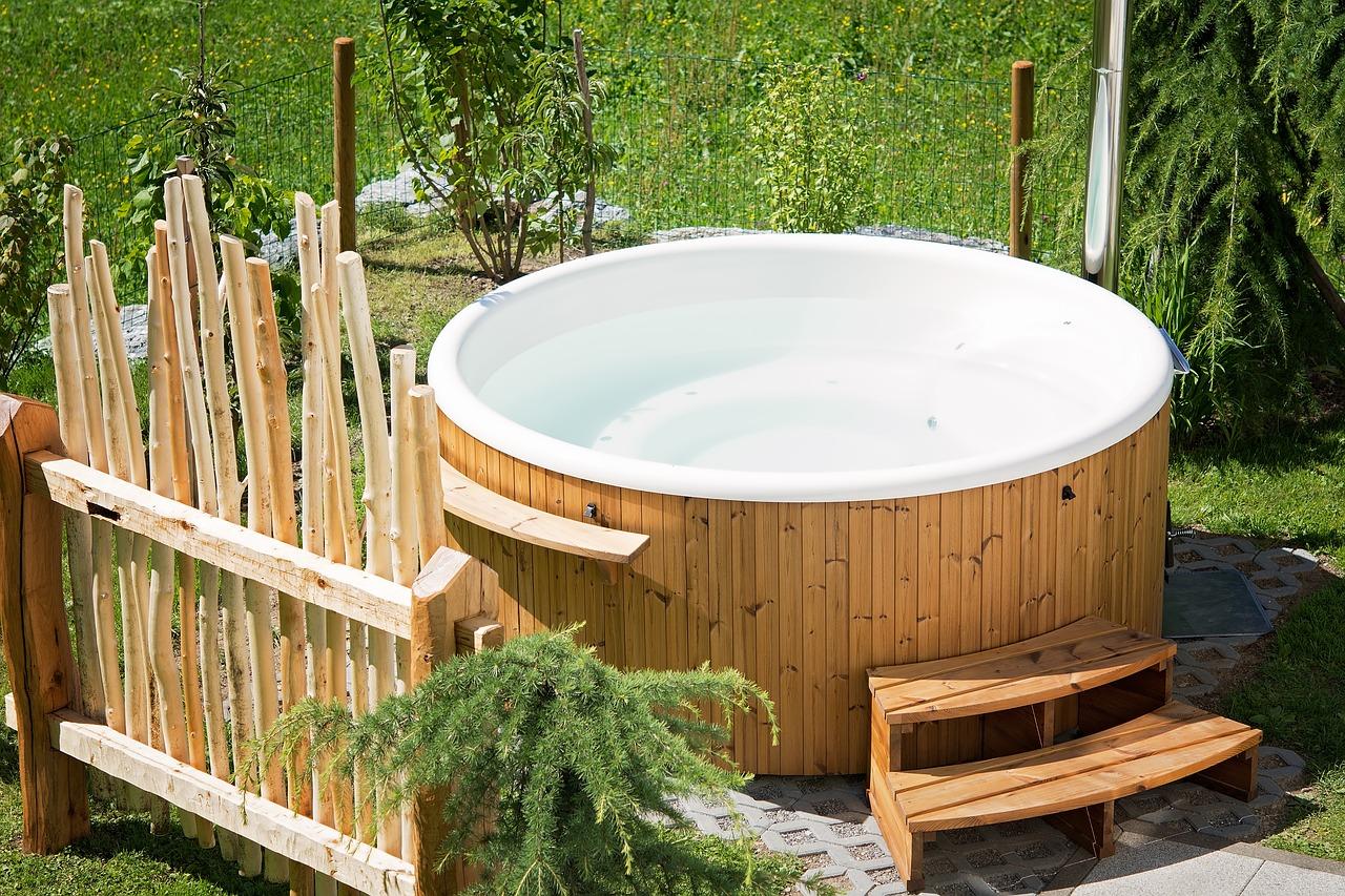 Wooden circular outdoor hot tub